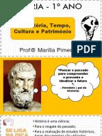 1 – HISTÓRIA, PATRIMÔNIO, CULTURA E TEMPO
