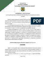 Hotărârea nr. 48 din 22.07.2021 privind aprobarea Listei cu clasificarea țărilor/teritoriilor în funcție de rata de incidență cumulată