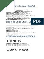 Listado de Libros de Poker - Español