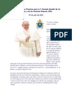 Mensaje del Papa Francisco para la I Jornada Mundial de los Abuelos y de las Personas Mayores 2021