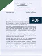 Derby BOE Budget Letter