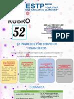rubro 52 INGRESOS POR SERVICIOS FINANCIEROS