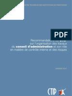 Recommandations du CTIP sur l'organisation des travaux du conseil d'administration et son rôle en matière de contrôle interne et des risques
