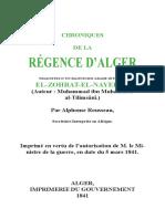 CHRONIQUES DE LA RÉGENCE D'ALGER