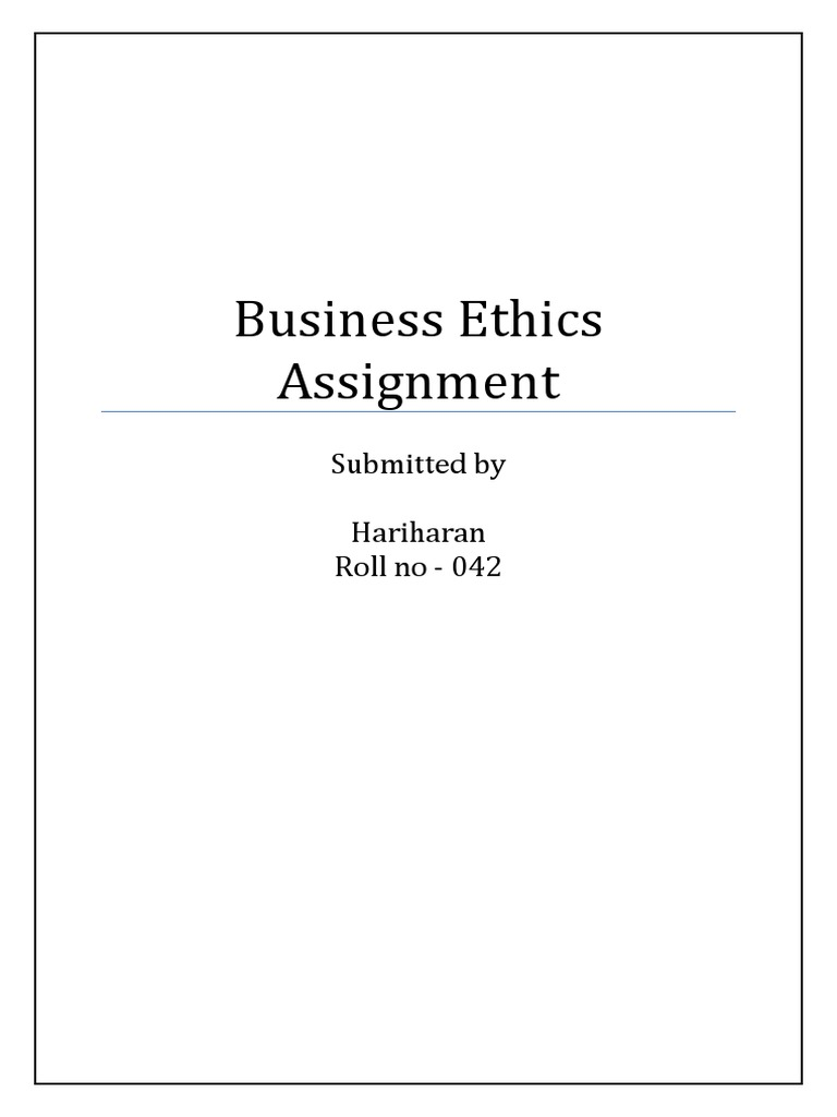 Business ethics assignment