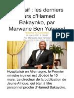 Jeune Afrique_Exclusif - Les Derniers Jours d'Hamed Bakayoko, Par Marwane Ben Yahmed