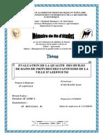 evaluation qualité des bain de friture