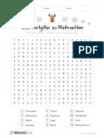 Arbeitsblatt Weihnachten Suchwortgitter
