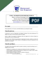 SYLLABUS DU COURS SUR LES TECHNIQUES DE RECHERCHE D'EMPLOI MASTER I UNIVERSITE DES LAGUNES-1