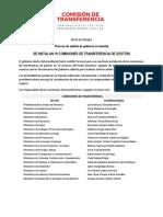 Instalación de 19 comisiones de transferencia de gestión