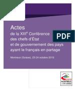 917Jul2021234110Actes 13ème Conférence de Montreux en Suisse, Sur La Francophonie