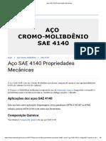 Aço SAE 4140 Propriedades Mecânicas