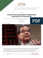 A função da advocacia pública é fundamental à superação da crise democrática _ JOTA Info
