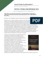 implications-philosophiques.org-Recension  Comment fonder la philosophie