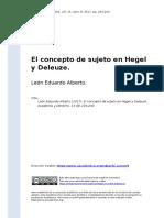 Leon Eduardo Alberto (2017). El Concepto de Sujeto en Hegel y Deleuze