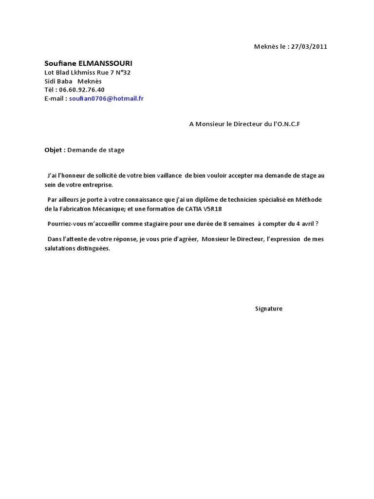Exemple Demande De Stage Btp Maroc Vinny Oleo Vegetal Info