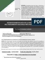 Neurofenomenologia de La Percepcion Del Pensamiento Dr Oscar Fernandez Galindez