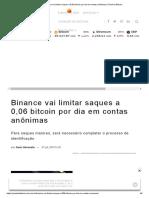 Binance vai limitar saques a 0,06 bitcoin por dia em contas anônimas _ Portal do Bitcoin