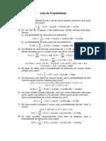 Lista de Exercícios - Probabilidade I
