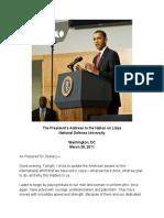 Barack Obama Remarks on Action in Libya