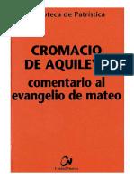 58. CROMACIO de AQUILEYA - Comentario Al Evangelio de Mateo