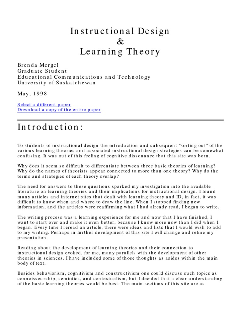 Instructional Design Learning Theory Constructivism Philosophy Of Education Instructional Design Free 30 Day Trial Scribd