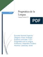 Trabajo Práctico- Pragmática de la Lengua- Lizarzuay Janet