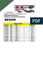 listado de correas REXON COMERCIALIZADORA DTR PARA RANDY