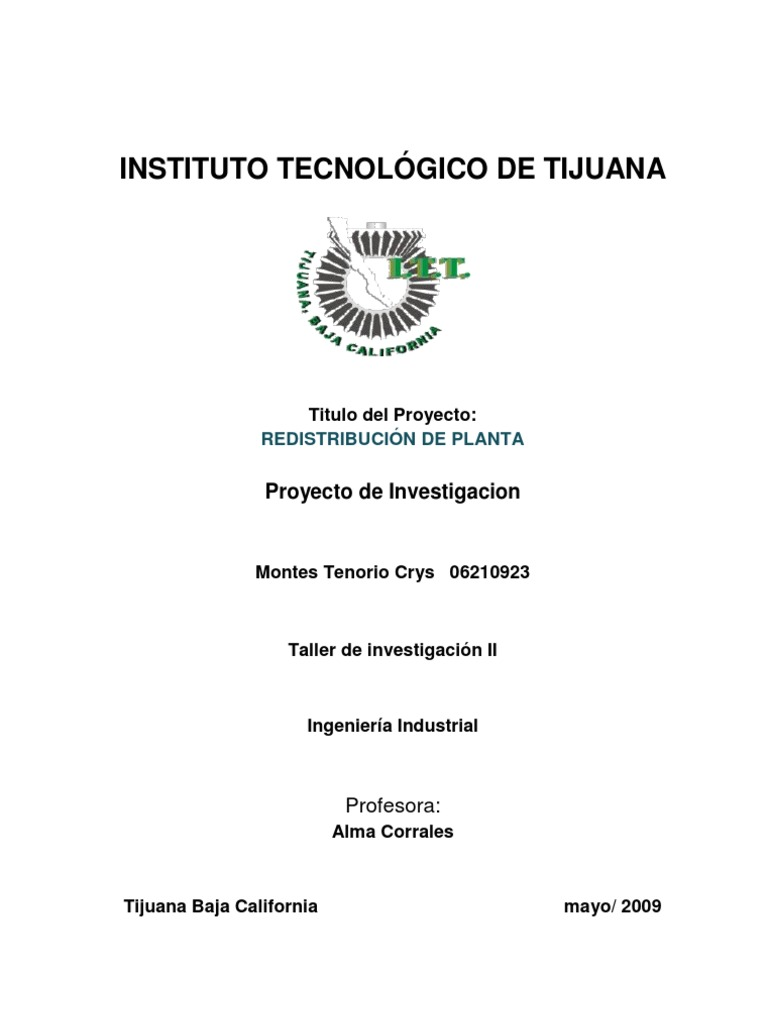 Redistribucion de planta proyecto de investigacion for Proyecto de investigacion de plantas ornamentales