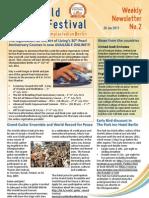 World Culture Festival, Berlin, Germany, Newsletter 02