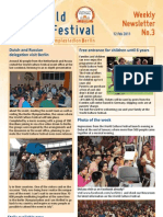 World Culture Festival, Berlin, Germany, Newsletter 03