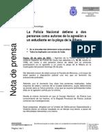 Nota de Prensa Policía Nacional de Ceuta - Operación Murciélago