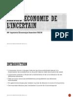Micro-ECONOMIE DE L'INCERTAIN (séances précédentes)