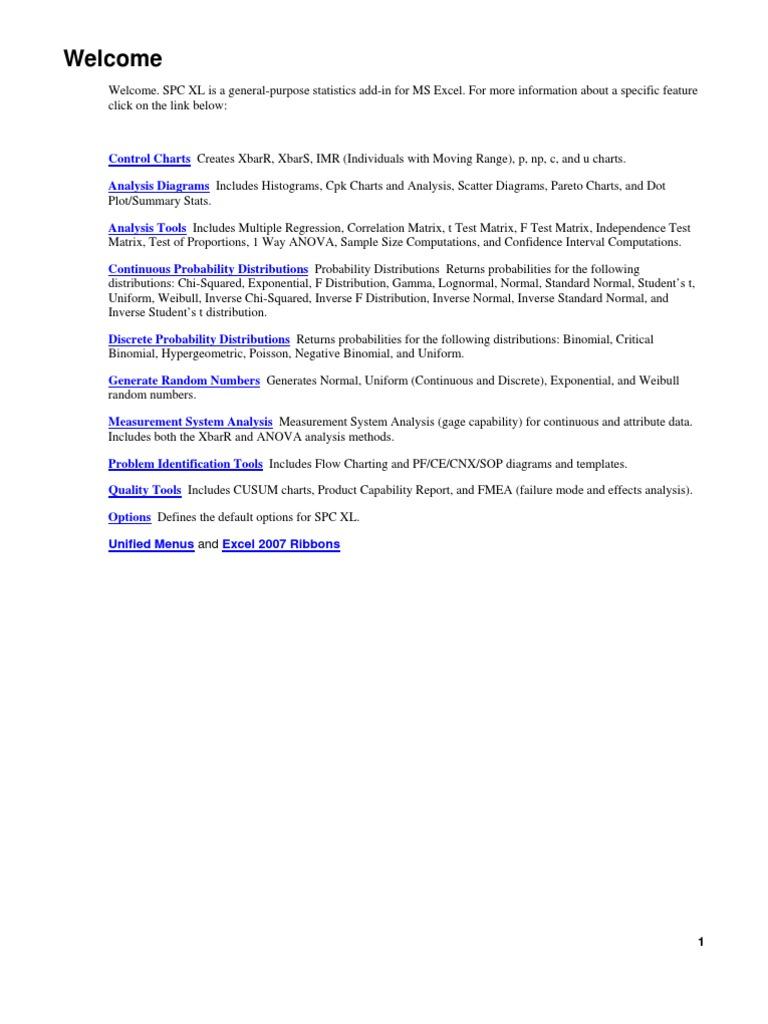 User\'s Manual for SPC XL   Histogram   Statistics
