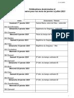 Dates messes Haute-Ajoie janvier-juillet 2021