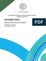 INFORME FINAL 693-20 MUNICIPALIDAD DE MAIPÚ SOBRE AUDITORÍA DE EJECUCIÓN  PRESUPUESTARIA 2019 Y GASTOS COVID 2020-FEBRERO 2021