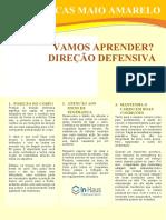 CARTAZ MAIO AMARELO VAMOS APRENDER DIREÇÃO DEFENSIVA