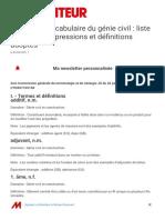 Génie civil Vocabulaire du génie civil _ liste de termes, expressions et définitions adoptés