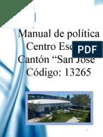 MANUAL DE POLITICA-CENTRO ESCOLAR CANTON SAN JOSE-13265