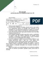 Formular B - Declaratie art.181