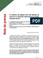 NOTA de PRENSA del GOBIERNO DE ESPAÑA RESUMEN LICITACIONES EN EL 1er TRIM. EN LA COMUNIDAD VALENCIANA