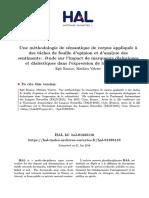 Une Méthodologie de Sémantique de Corpus Appliquée à Des Tâches de Fouille d'Opinion Et d'Analyse Des Sentiments