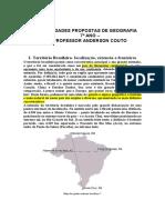 7º Ano - Atividades Propostas de Geografia - Jun,Jul e Agosto 2021