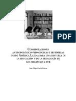 CONSIDERACIONES antropologicopedagogíacas sonbre la historia de la educación en la colonia