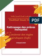 Rattrapage Prières Manquées Madhhab Maliki