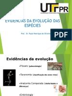 Aula 3 EVIDÊNCIAS DA EVOLUÇÃO DAS ESPÉCIES