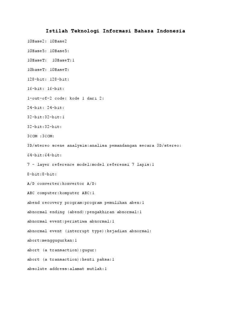 Istilah teknologi informasi bahasa indonesia ccuart Images