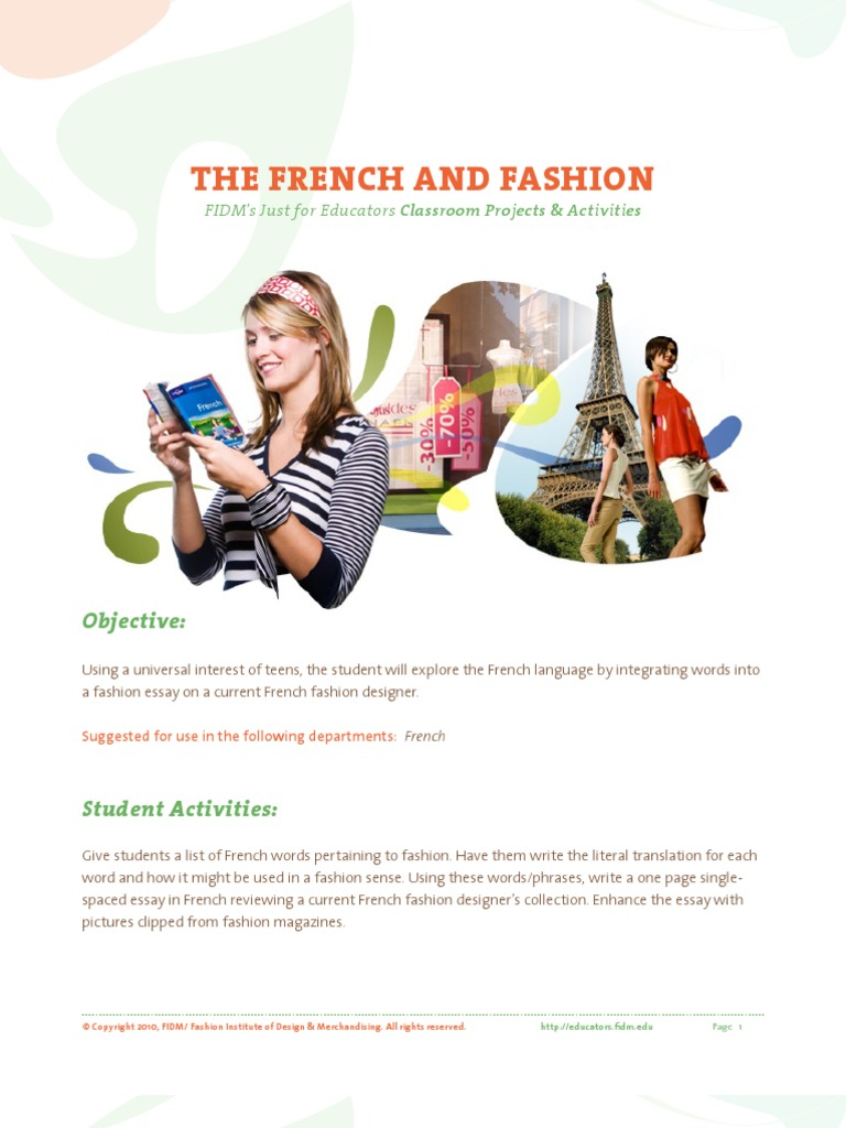 French Fashion French Language Vocabulary