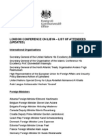 LONDON CONFERENCE ON LIBYA – LIST OF ATTENDEES
