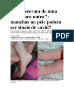 Revista Crescer. Machas de pele e covid. Dra. Selma Hélène
